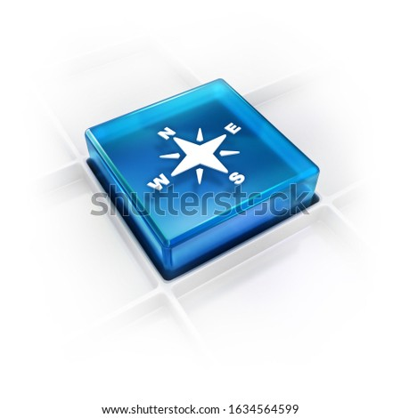 compass with directions glossy 3D icon in blue color for the concepts of navigation and directional guides or map and geography info