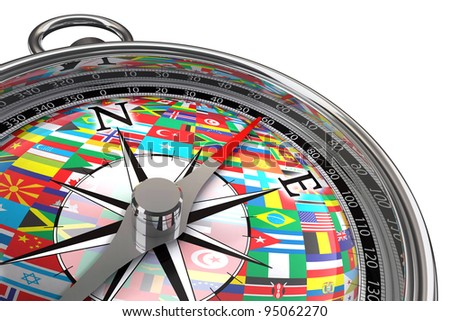 compass with flags travel concept on white background with clipping mask
