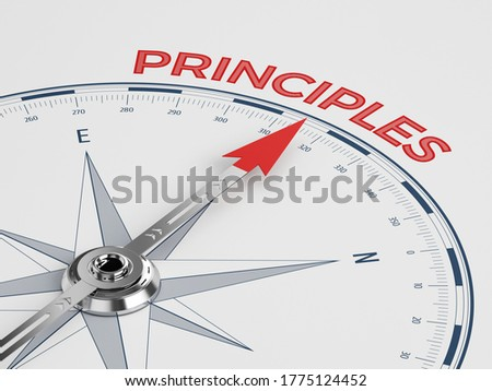 Compass with Needle Pointing Principles Word - Principles ?oncept on White Backgrund - 3d rendering Сток-фото ©