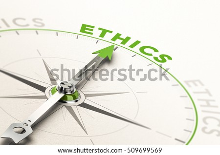 compass with needle pointing the word ethics. Conceptual 3d illustration of business integrity and moral Stock photo ©