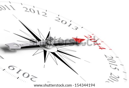 Compass with needle pointing Year 2014 - Two Thousand Fourteen - 3D concept image for the new year consisting of one compass over white background