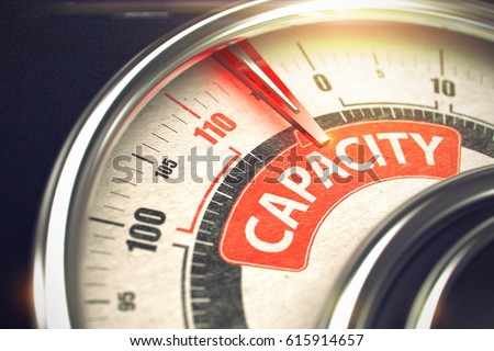 Compass with Red Needle Pointing the Caption Capacity on the Red Label. Capacity - Conceptual System with Red Needle Pointing the Label with Caption. Business Concept. Horizontal image. 3D Render.