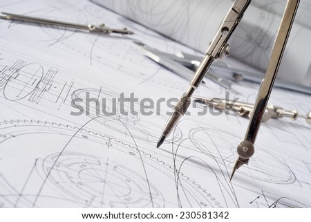 compasses and blueprint