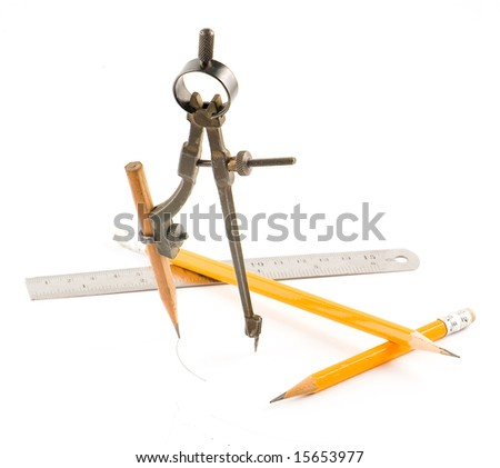 Compasses and pencil on white background. Isolated objects.