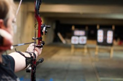Compaund bow in archery place