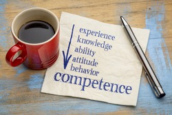 competence concept - handwriting on a napkin with a cup of espresso coffee