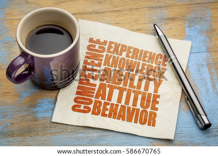 competence concept  - word abstract on a napkin with a cup of espresso coffee #586670765