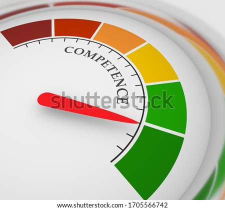 Competence level scale with arrow. The measuring device icon. Sign tachometer, speedometer, indicators. Infographic gauge element. 3D rendering Stock photo ©