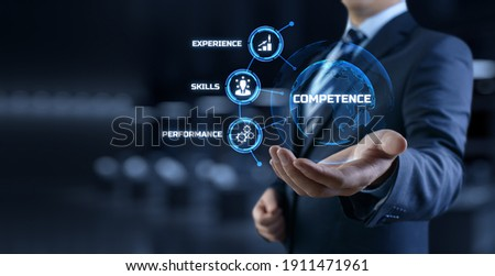 Competence skills business and personal development concept. Businessman pressing button on screen. Stock photo ©