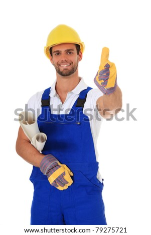 Competent construction worker. All on white background.