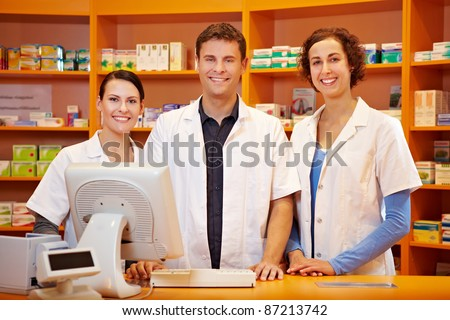 Competent pharmacy team with pharmacist and pharmacy technicians