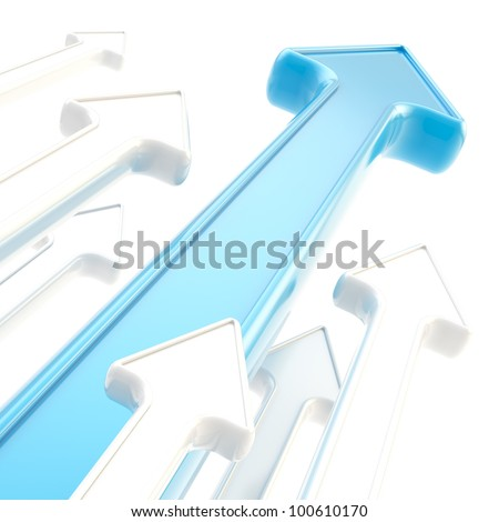 Competition and economical growth as abstract background of glossy arrows on white