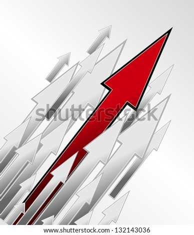 Competition and growth as an illustration, direction arrows on white background - stock photo