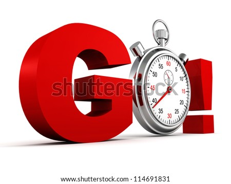 competition concept red GO letters with classic stopwatch