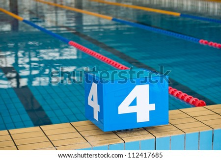 Competition swimming pool with starting blocks
