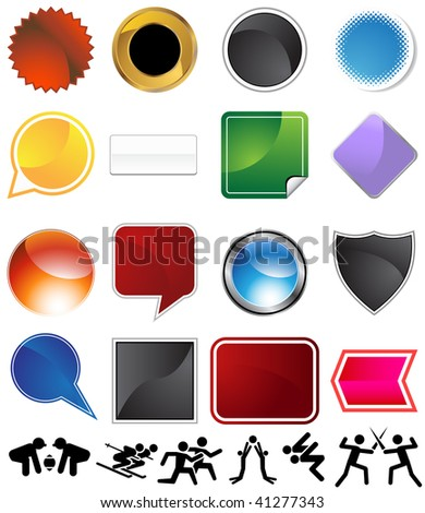 Competitive sports variety set isolated on a white background.