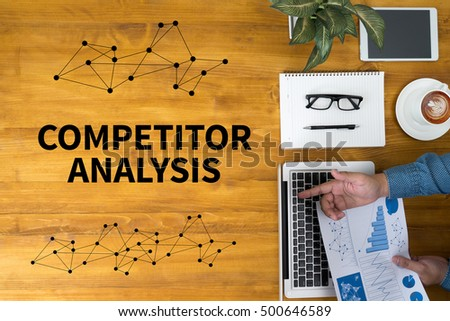 COMPETITOR ANALYSIS Businessman working at office desk and using computer and objects, coffee, top view