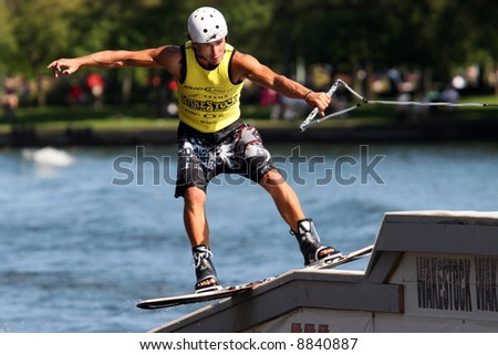 Competitor at a wake boarding competition.