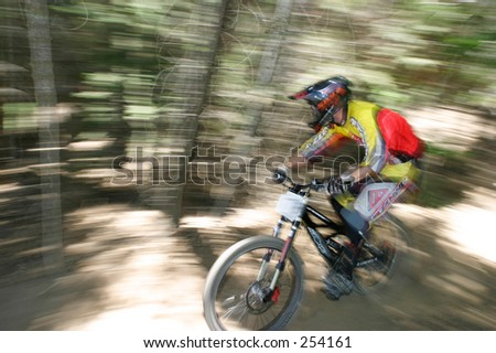 Competitor in a downhill mountain bike race