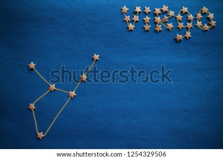 Compilation of a personal horoscope, astrology, science about the stars. Constellation Virgo, earthly sign. Blue background, vignetting. The picture is made by the author.