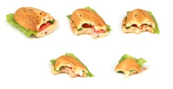 Compilation of sandwiches on white high resolution