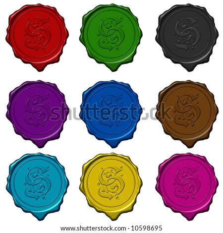 Complete alphabet letters on colored wax seals - stock photo