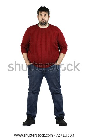 Complete body shot of a big guy smiling looking at camera, real ordinary middle age bearded white man with weight problem isolated over white