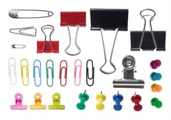 complete collection of various type of paper clip on white background. each one is shot separately