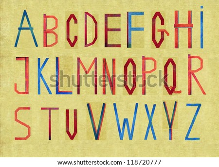 Complete english alphabet on earthy brown background image