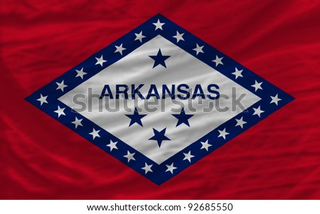 complete flag of us state of arkansas covers whole frame, waved, crunched and very natural looking. It is perfect for background - stock photo