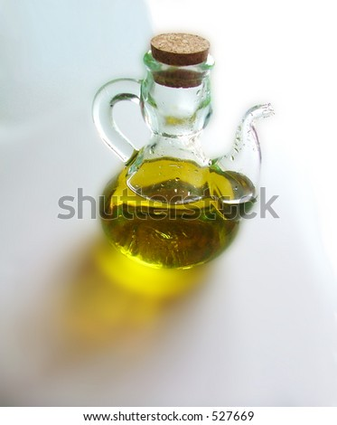complete oilcan with olive oil close-up