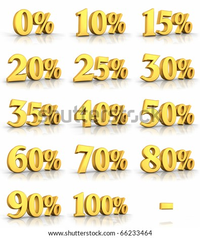 Complete set of gold percent tags for sales and discounts, price tags with minus