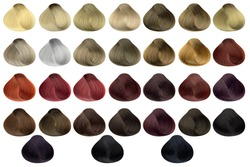 Complete set of locks of all the most used hair color samples, rounded shape, isolated on white background, clipping path included