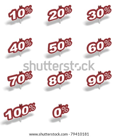 Complete set of percent red sign over a white background