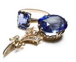 complete set of ring and pendent with blue gem