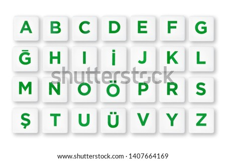 Complete Turkish alphabet letters on white buttons. Isolated background #1407664169