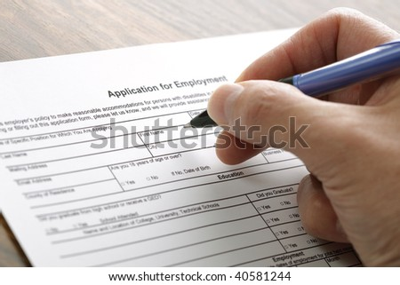 Completing an employment application form