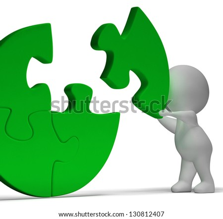 Completing Jigsaw Shows Solution Completing Or Achievement