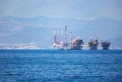 Complex big offshore oil rig drilling platform
