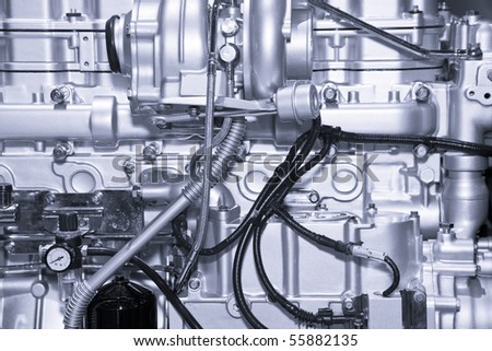 Complex car engine with lots of details