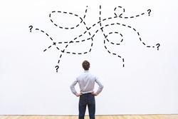 complex difficult task or question un business, problem concept