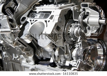 Complex engine of modern car with lots of details.