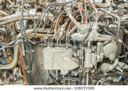 complex engineering inside of a passenger jet engine