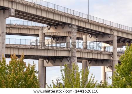 Complex freeway bridge in city center #1441620110