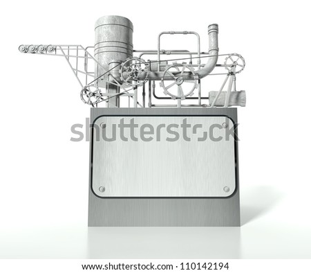 Complex machine with gears, pipes and empty board for text