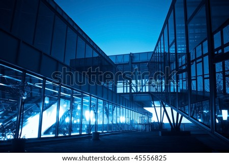 complex modern business building in blue
