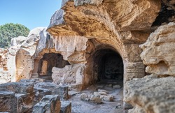 Complex of great catacombs Agios Lambrianos and Agia Solomoni. Paphos Archaeological Park. Cyprus