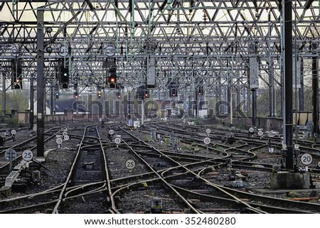 Complex railway lines on the approach to Manchester Piccadilly station.