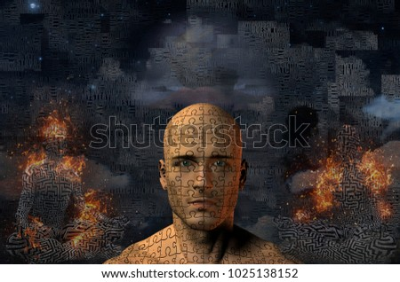 Complex surreal painting. Ancient ship on a sand dune. Burning figure of man in lotus pose. Man's head with puzzle pattern. 3D rendering Сток-фото ©