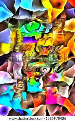 Complex surreal painting. Green eye, fire and colorful overlapping layers. Thoughts and dimensions. 3D rendering